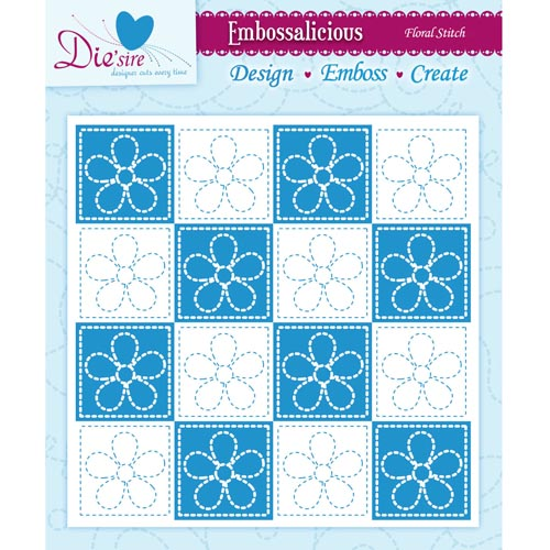 Die'sire Embossalicious Embossing Folders - Floral Stitch