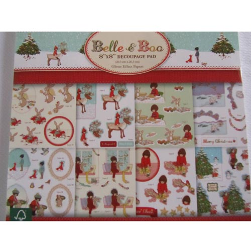 Dovecraft Belle & Boo 8x8 Glittered Effect Decoupage Pad