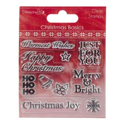 Dovecraft Christmas Basics Clear Stamps - Happy Christmas