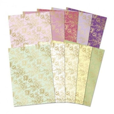Hunkydory Elegant Roses Luxury Foiled Card 10 Sheets