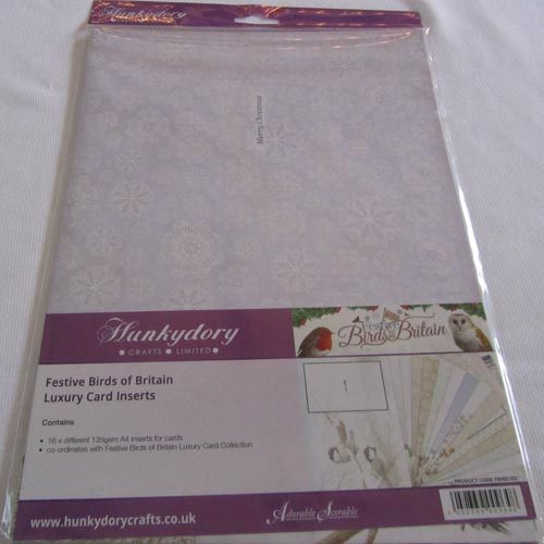 Hunkydory Festive Birds Of Birds of Britain Luxury Inserts For Cards