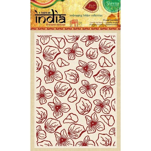 "Sheena Douglass 5"" x 7"" A Taste of India Embossing Folders - Floral Confetti"