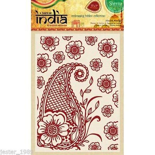 "Sheena Douglass 5"" x 7"" A Taste of India Embossing Folders - Henna Mango"