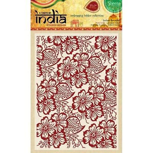 "Sheena Douglass 5"" x 7"" A Taste of India Embossing Folders - Indian Bouquet"