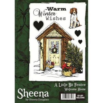 Sheena Douglass A little Bit Festive A6 Rubber Stamp - Welcome Home