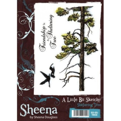 Sheena Douglass A little Bit Sketchy A6 Rubber Stamp - Sheltering Tree