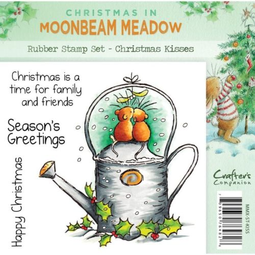 CRAFTERS COMPANION CHRISTMAS IN MOONBEAM MEADOW CHRISTMAS KISS RUBBER STAMP SET