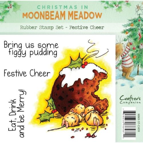 Crafters Companion Christmas In Moonbeam Meadow Festive Cheer Rubber Stamp Set