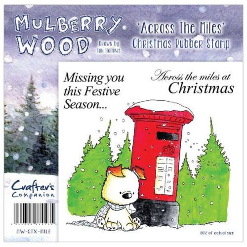 CRAFTERS COMPANION CHRISTMAS MULBERRY WOOD ACROSS THE MILES RUBBER STAMP SET