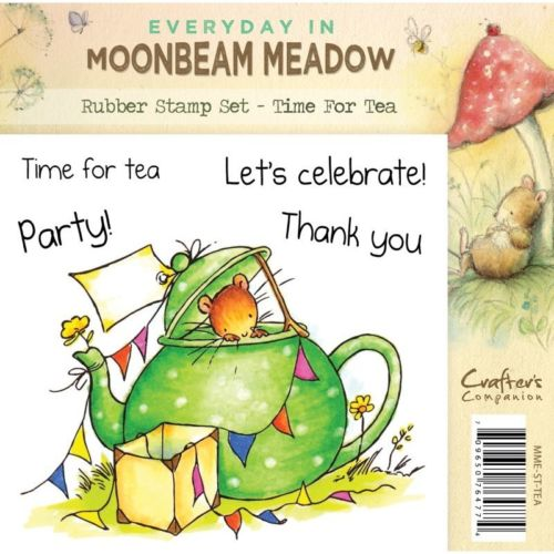 Crafters Companion Moonbeam Meadow Time For Tea Rubber Stamp Set