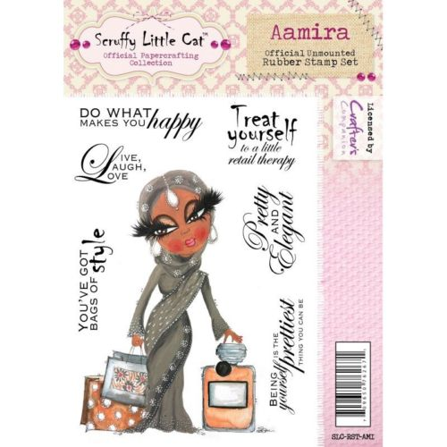 CRAFTERS COMPANION SCRUFFY LITTLE CAT AAMIRA A6 RUBBER STAMP SET