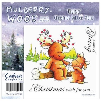 Crafters Companion Christmas Mulberry Wood Giving Rubber Stamp Set