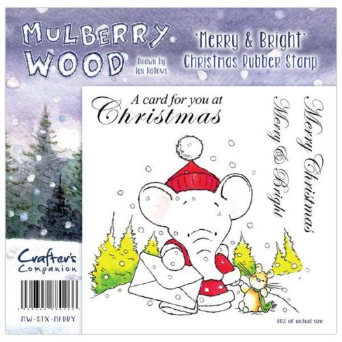 Crafters Companion Christmas Mulberry Wood Merry & Bright Rubber Stamp Set