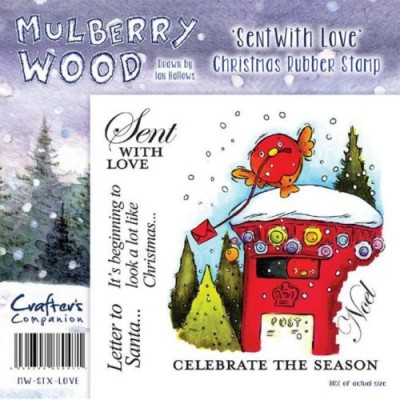 Crafters Companion Christmas Mulberry Wood Sent With Love Rubber Stamp Set