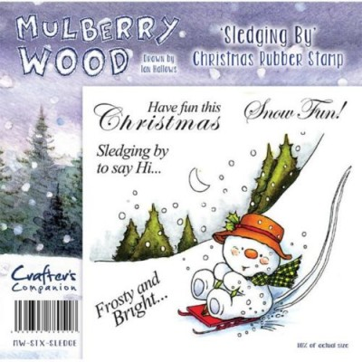 Crafters Companion Christmas Mulberry Wood Sledging By Rubber Stamp Set