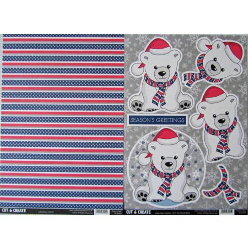 Craftstyle Products Cut & Create - Christmas Friends 2 Sheet Set - Pete The Polor Bear