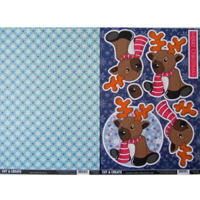 Craftstyle Products Cut & Create - Christmas Friends 2 Sheet Set - Rudolph With Scarf