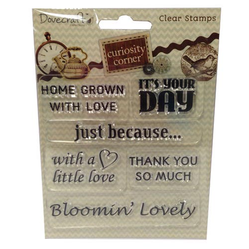 Dovecraft Curiosity Corner Sentiment Clear Stamp Set