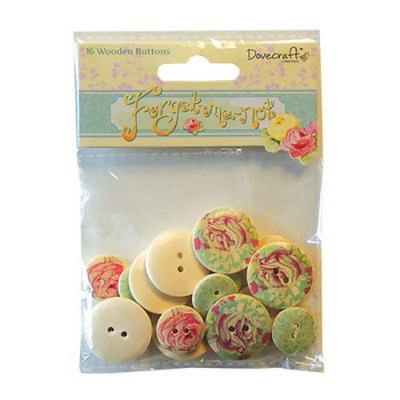 Dovecraft Forget Me Not - Wooden Buttons 16pcs