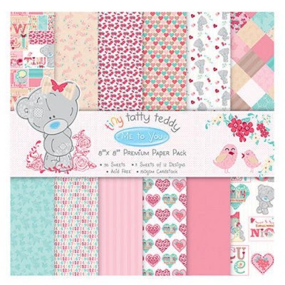 Dovecraft Me to You Tiny Tatty Teddy Girl 8x8 Paper Pack 36 Sheets