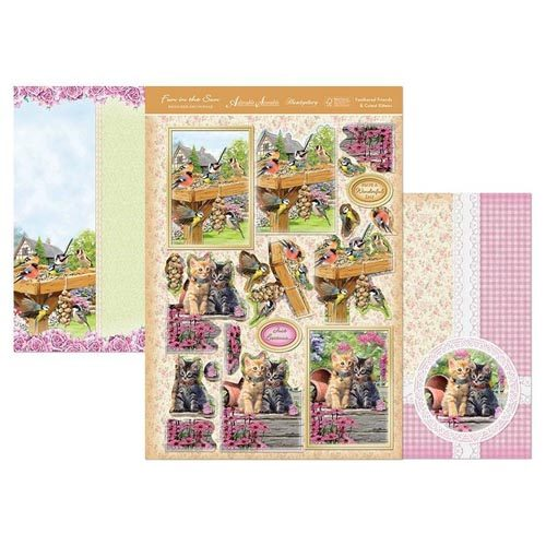 HUNKYDORY 3 X A4 SHEET TOPPER & CARD SET - FEATHERED FRIENDS & CUTEST KITTENS