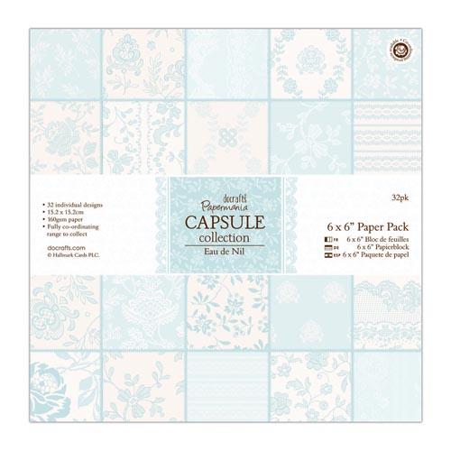 Papermania Capsule Collection 6x6 Paper Pack 32 Sheets - Eau de Nil