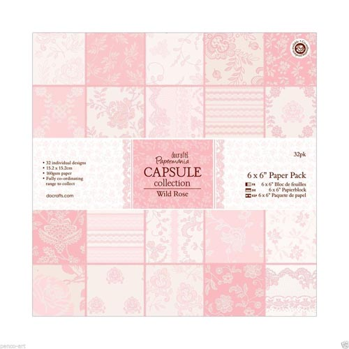 Papermania Capsule Collection 6x6 Paper Pack 32 Sheets - Wild Rose