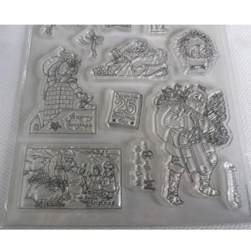 Papermania - Victorian Christmas A5 Clear Stamp Set of 15 Stamps - Santa