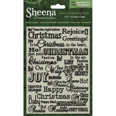 "Sheena Douglass 5"" x 7"" Festive Embossing Folders - Christmas Greetings"