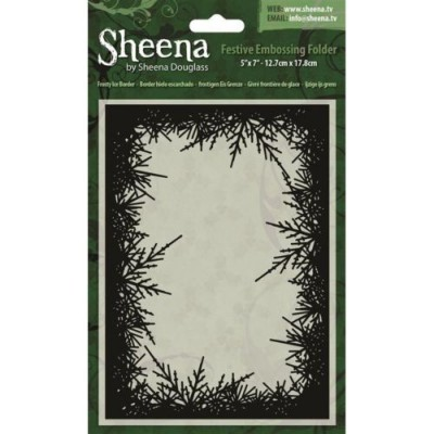 "Sheena Douglass 5"" x 7"" Festive Embossing Folders - Frosty Ice Border"