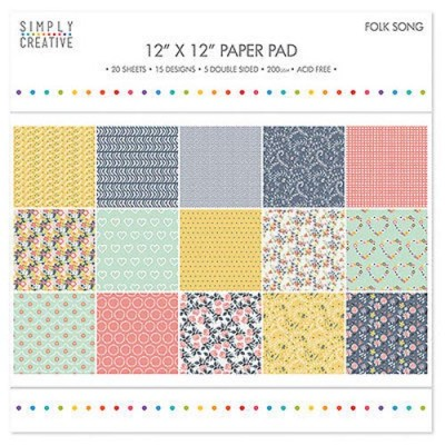 Dovecraft Simply Creative 12 x 12 Paper Pad - Folk Song