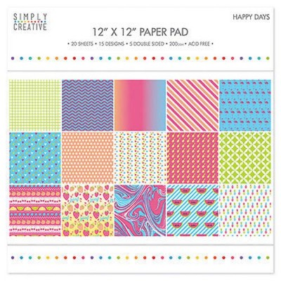 Dovecraft Simply Creative 12 x 12 Paper Pad - Happy Days