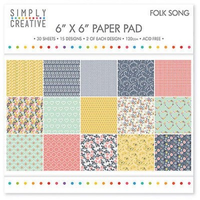 Dovecraft Simply Creative 6 x 6 paper Pad - Folk Song