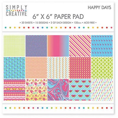 Dovecraft Simply Creative 6 x 6 paper Pad - Happy Days