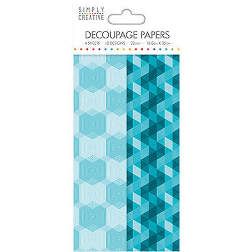 Dovecraft Simply Creative Decoupage Paper - Aqua Geometric 4 Sheets 2 Designs