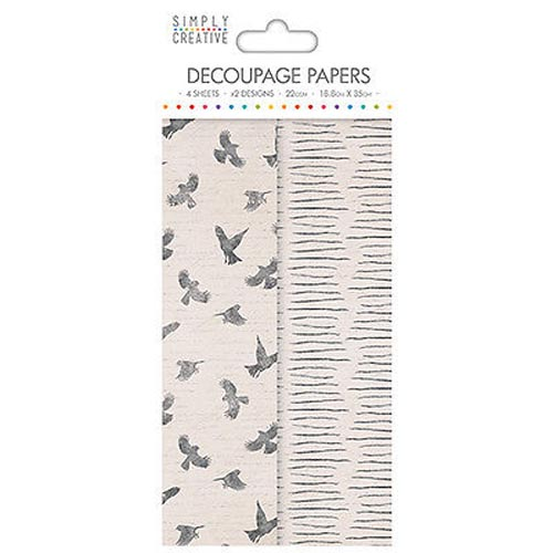 Dovecraft Simply Creative Decoupage Paper - Birds 4 Sheets 2 Designs