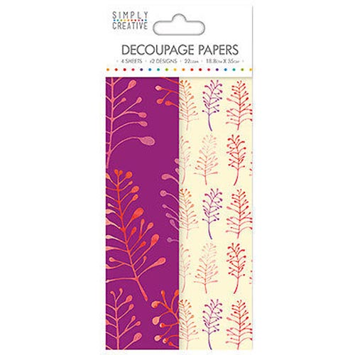 Dovecraft Simply Creative Decoupage Paper - Bold Foliage 4 Sheets 2 Designs