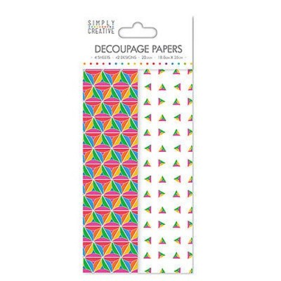 Dovecraft Simply Creative Decoupage Paper - Bold Geometric 4 Sheets 2 Designs