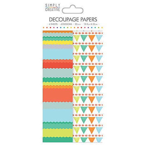 Dovecraft Simply Creative Decoupage Paper - Bright Bunting 4 Sheets 2 Designs