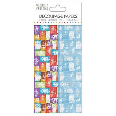 Dovecraft Simply Creative Decoupage Paper - Coloured Blocks 4 Sheets 2 Designs