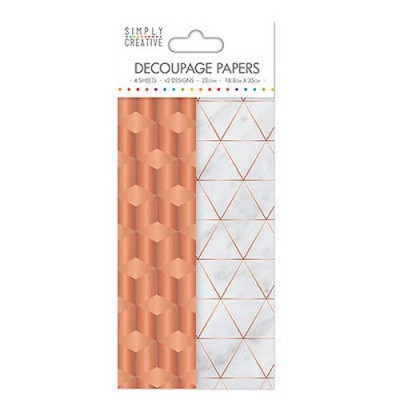 Dovecraft Simply Creative Decoupage Paper - Copper Industrial 4 Sheets 2 Designs