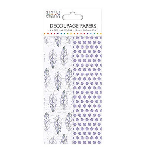 Dovecraft Simply Creative Decoupage Paper - Purple Feathers 4 Sheets 2 Designs