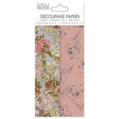 Dovecraft Simply Creative Decoupage Paper - Rose Bloom 4 Sheets 2 Designs