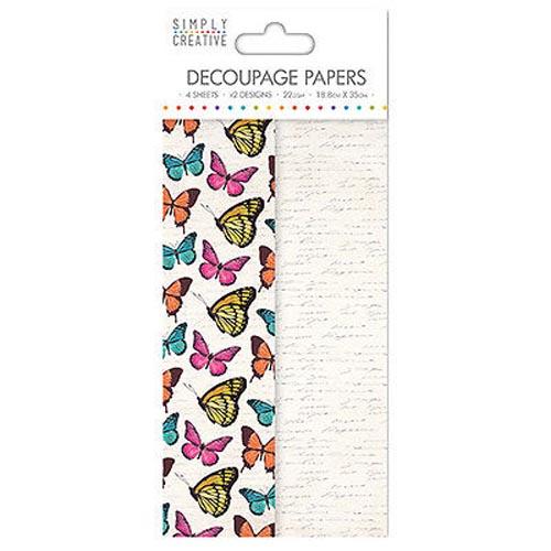 Dovecraft Simply Creative Decoupage Paper - Vibrant Butterflies 4 Sheets 2 Designs