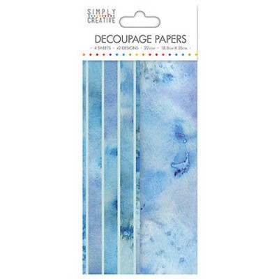 Dovecraft Simply Creative Decoupage Paper - Watercolour Blues 4 Sheets 2 Designs