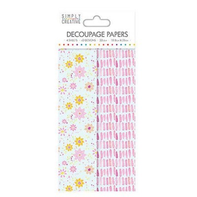 Dovecraft Simply Creative Decoupage Paper - Watercolour Floral 4 Sheets 2 Designs