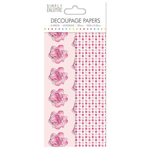Dovecraft Simply Creative Decoupage Paper - Watercolour Roses 4 Sheets 2 Designs