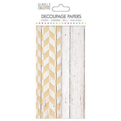 Dovecraft Simply Creative Decoupage Paper - White Wood 4 Sheets 2 Designs