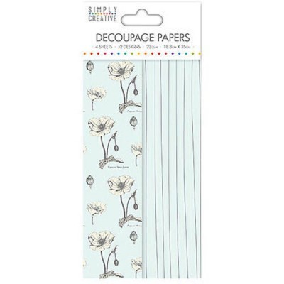 Dovecraft Simply Creative Decoupage Paper - Wild Flowers 4 Sheets 2 Designs