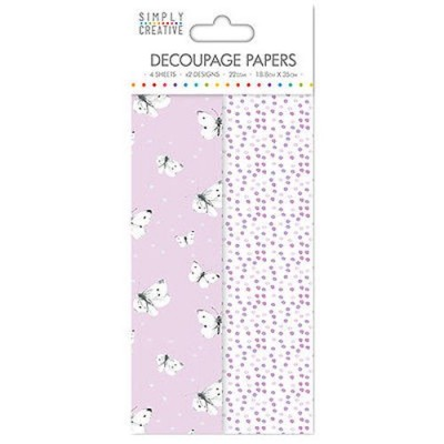Dovecraft Simply Creative Decoupage Paper - lilac Butterflies 4 Sheets 2 Designs